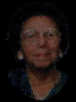 Jon Corbett, Four Generations: digitally-generated spiral-beaded portraits, 2015